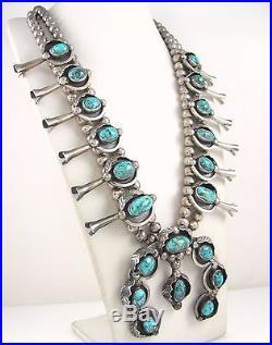 LRG Vtg Navajo Sterling Silver Blue Diamond Turquoise Squash Blossom Necklace J