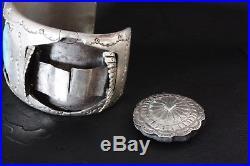 Large Vintage Men's Navajo Silver+Turquoise Watch Cuff Bracelet
