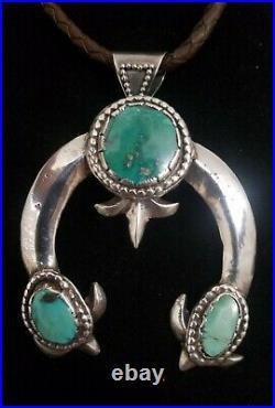 Large Vintage Navajo Broken Arrow Turquoise Sterling Naja Pendant 2.75 x 2.12