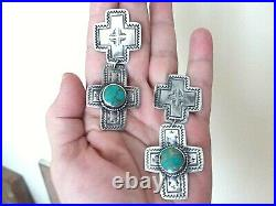Large Vintage Navajo Hand Stamped Cross Sterling Silver and Turquoise Earrings