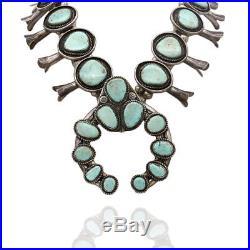 Large Vintage Navajo Handmade Sterling Turquoise Squash Blossom Necklace AJB