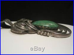Large Vintage Navajo Pawn Sterling Silver Turquoise Pendant Necklace Signed