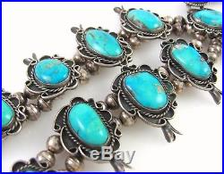 Large Vintage Navajo Solid Sterling Silver Turquoise Squash Blossom Necklace J