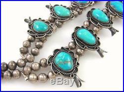 Large Vintage Navajo Solid Sterling Silver Turquoise Squash Blossom Necklace J