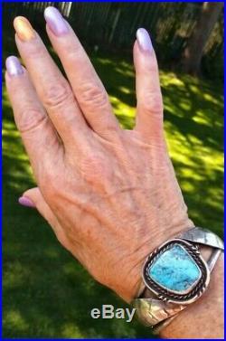 Large Vintage Navajo Sterling Silver TURQUOISE Cuff Bracelet 42.2 Grams