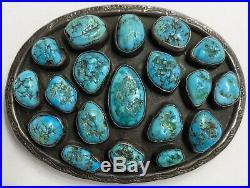 Large Vintage Navajo Sterling Silver Turquoise Cluster Belt Buckle OLD