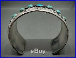 Large Vintage Navajo Sterling Silver Turquoise Cuff Bracelet OLD And HEAVY