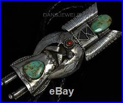 Large Vintage Old Pawn Navajo TURQUOISE KACHINA Corn Maiden Sterling BOLO TIE