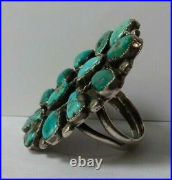 Large Vintage Zuni Indian Silver Multi Turquoise Cluster Ring Size 10