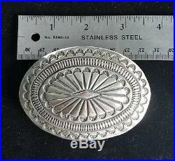 Large Vtg Navajo Sterling Silver Concho Belt Buckle Deeply Stamped Heavy 76 gr