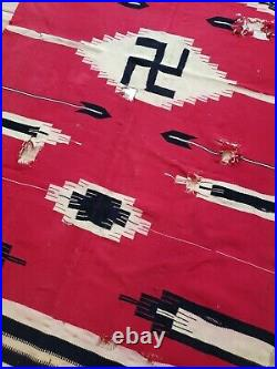 Large Vtg c. Early 1900's Native American Indian Chimayo Whirling Log Rug 70x36