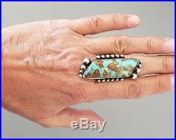 Long High Quality VINTAGE Navajo Turquoise Silver Ring Sz 6 1/4