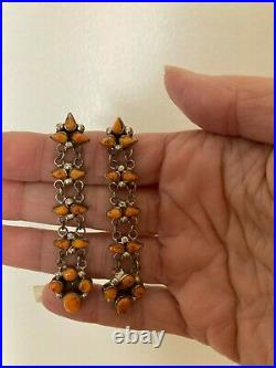 Long Vintage Native American Spiney Spiny Oyster Earrings, Navajo Sterling