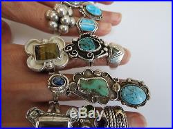 Lot of 18 ofl sterling silver turquoise onyx agate Navajo + vintage pawn rings