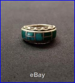 Lot of vintage Navajo sterling silver turquoise rings
