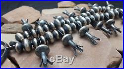 MASSIVE Vintage Navajo Sterling Silver Bench Made Bead Squash Blossom Necklace