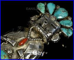 MASSIVE Vintage Old Pawn Navajo TURQUOISE KACHINA 3D Sterling BOLO TIE