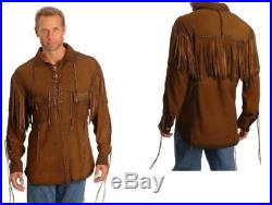MEN'S NATIVE AMERICAN Style BROWN Buck Skin/COW SUEDE LEATHER FRINGES SHIRT