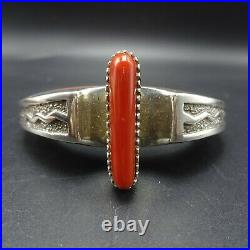 MICHAEL PERRY Vintage NAVAJO Sterling Silver Overlay CORAL INLAY Cuff BRACELET