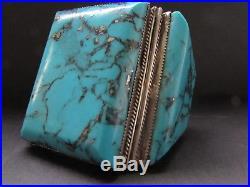 Magnificent Huge & Heavy Vtg Sterling Morenci Turquoise Cuff Bracelet-189 Grams