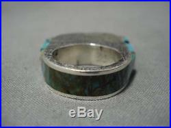 Magnificent Vintage Navajo Turquoise Sterling Silver Native American Ring Old
