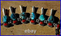 Magnificent Vintage Sterling Silver & Coral & Turquoise Squash Blossom Necklace
