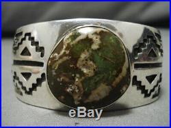 Marvelous Vintage Navajo Green Turquoise Sterling Silver Bracelet Old