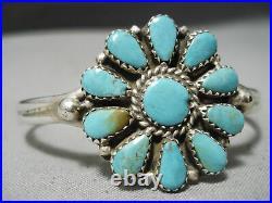Marvelous Vintage Navajo Turquoise Sterling Silver Bracelet Old