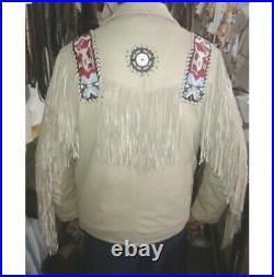 Men Native American Western Suede Leather Fringe Jacket beads