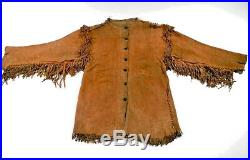 Men's Antique Native American Mountain Buck Skin/ cow Suede Leather war Shirt