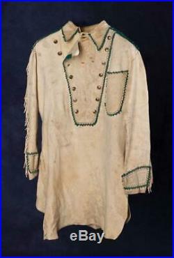 Men's Antique Native American Mountain Man Buffalo Suede Leather War Shirt