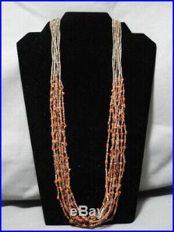 Museum Quality Vintage Coral Navajo Sterling Silver Necklace Old