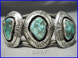 Museum Vintage Navajo Cerrillos Turquoise Sterling Silver Bracelet Old