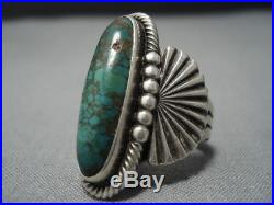 Museum Vintage Navajo Green Turquoise Sterling Silver Ring Old