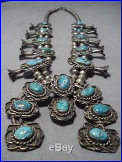 Museum Vintage Navajo Turquoise Sterling Silver Squash Blossom Necklace Old