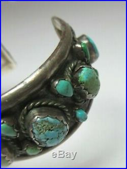 NATIVE AMERICAN Indian SILVER & TURQUOISE CUFF BRACELET OLD PAWN Navajo Vintage