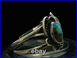 NAVAJO Old Pawn Vintage NATIVE AMERICAN Sterling Blue TURQUOISE Cuff Bracelet