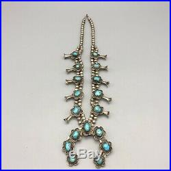 NICE TURQUOISE! VINTAGE TURQUOISE & STERLING SILVER, Squash Blossom Necklace