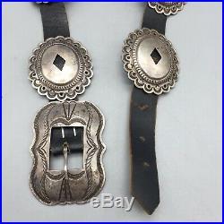 NICE, Vintage Sterling Silver Concho Belt Circa Mid-Century