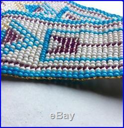 Native American Glass Seed Bead Loom Beaded Sash Belt 32-44 VINTAGE