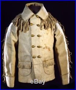 Native American Handmade Buckskin Indian Vintage Fringed Leather Coat Jacket