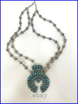 Native American Navajo Vintage Silver Turquoise Squash Blossom Mike Yazzie