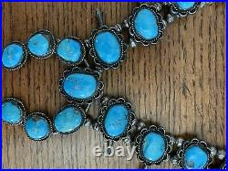 Native American Navajo Vintage Squash Blossom Sterling Silver Turquoise Necklace