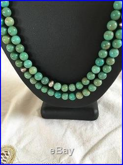 Native American Sterling Silver 2 Strand Green Turquoise Vintage Beads Necklace