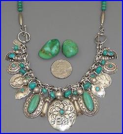 Native American TURQUOISE CHARM BRACELET / NECKLACE Green Vintage Squash Blossom