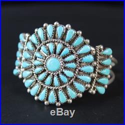 Native American Turquoise Cuff Bracelet CLUSTER vintage Navajo sterling silver
