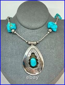 Native American Vintage Sterling Silver Navajo Pearl Turquoise Beaded Necklace