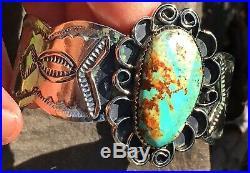 Native American Vtg Navajo Silver Dry Creek Turquoise Bracelet Signed 50g