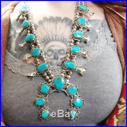 Native American indian squash blossom necklace big beautiful vintage turquoise
