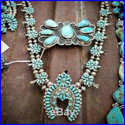 Native American indian vintage squash blossom turquoise sterling necklace